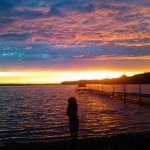 Jenelles daughter on sunset shore